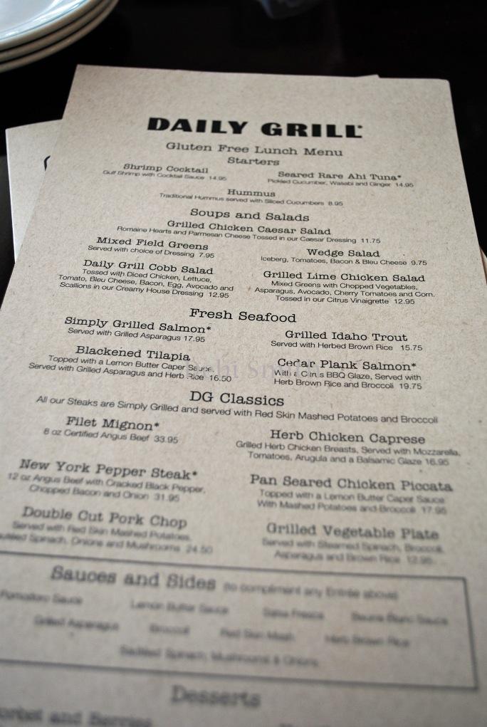 The dedicated gluten-free menu